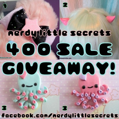 kendurbro:  (ノ◕ヮ◕)ノ*:・゚✧ It's already time for another GIVEAWAY! I didn't think I'd reach 400 sales so quickly! :'D Haha. I promised myself I'd do a giveaway every 100 sales until I reach 1,000. ♥ I know my last one ended just last week, but I want to stick with this for you guys! ☆I am giving away:1. A puffy bow (Can be for your hair or worn as a brooch!)2. A pair of our pink horns3. A cute little Octopus necklace (You pick your color!)☆RULES:1. MUST like our facebook page! facebook.com/nerdylittlesecrets2. MUST like this picture!3. MUST comment ON this picture, telling me how you found Nerdy Little Secrets! ☆EXTRA ENTRIES! (1 entry each)1. SHARE this photo! 2. Follow us on INSTAGRAM! (nerdylittlesecrets)3. Follow us on TUMBLR! (nerdy-little-secrets.tumblr.com)☆ If you do any of these, let us know in your comment below, and give us your instagram name, or tumblr name! ☆ THIS GIVEAWAY WILL END MAY 1ST! ♥ Good luck to all! ♥