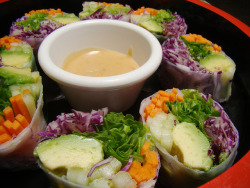 vegan-yums:  Veggie Rolls with Peanut Sauce by Vegan Feast Catering on Flickr.