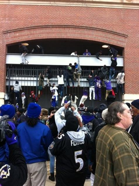 Still working on the celebration here in Baltimore.  The parade was bananas and it ended at the stadium. After a 70,000 or so made it in to continue the welcome home festivities, the Fire Marshall shut down the doors. The die hards still made it in. Still all smiles.