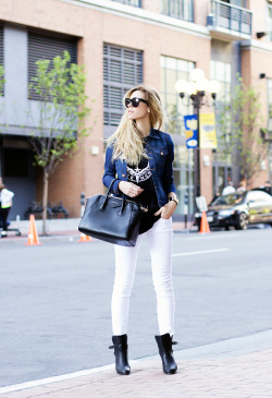 what-do-i-wear:  Sunglasses - Celine, Tank - Givenchy, Jacket - A.N.D., Bag - Givenchy, Denim - A.N.D., Boots - Rag & Bone (image: thenativefox)