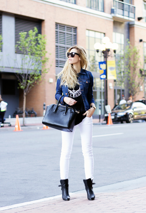 Sunglasses - Celine, Tank - Givenchy, Jacket - A.N.D., Bag - Givenchy, Denim - A.N.D., Boots - Rag & Bone (image: thenativefox)