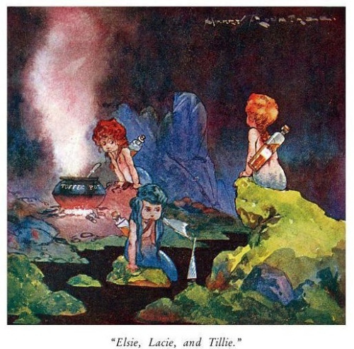 """Elsie, Lacie, and Tillie"" Harry Rountree's fabulous illustrations of Lewis Carroll's ""Alice's Adventures in Wonderland"" and ""Through the Looking Glass."" (1908)"