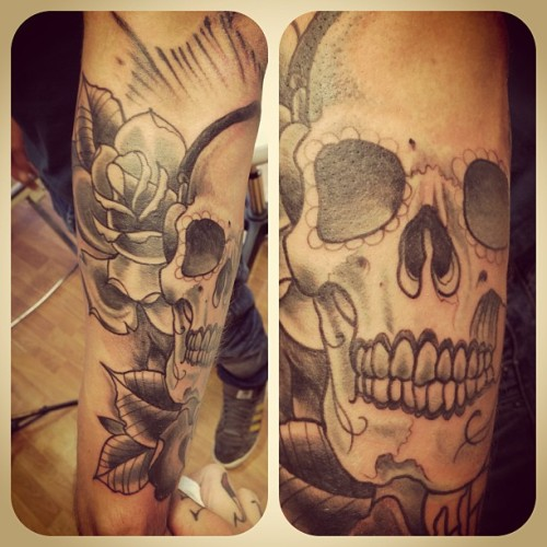 Sleeve progress #tattoo #skull #roses