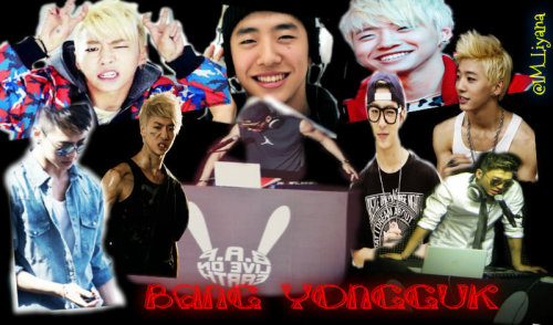 my first work using piZap photo editor .. Bang Yongguk wallpaper ..