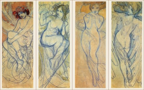 hoshi-kou-likes:  four seasons idea sketches by Mucha. too bad he never finished these