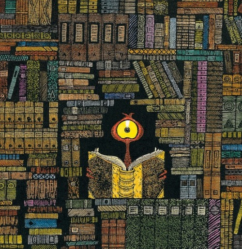 An alien in the library / Un alienígena en la biblioteca (ilustración de Lu Heaven)