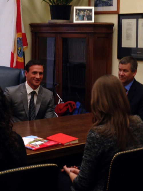 Ryan also stopped by Sen. Bill Nelson's office.. Great to have @ryanlochte & @ParentProjectMD stop by the office. Kids, parents touched by this disease are so strong.