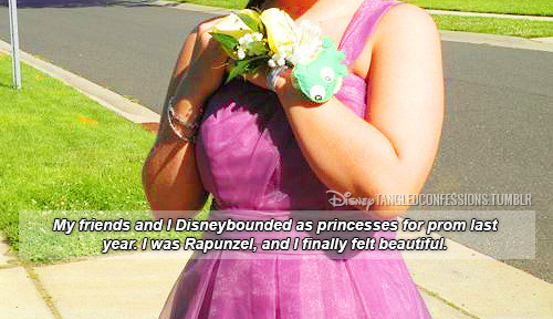 "disneytangledconfessions:   ""My friends and I Disneybounded as princesses for prom last year. I was Rapunzel, and I finally felt beautiful."""