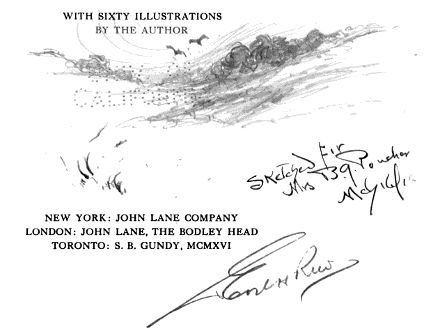 Title page illustration by the author-illustrator.  From The Dune Country by Earl Howell Reed (1916). Original from the University of California. Digitized November 9, 2007.