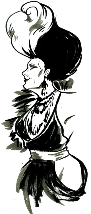 Black + grey ink study of Roxxxy Andrews's runway look from RPDR S5 E1.