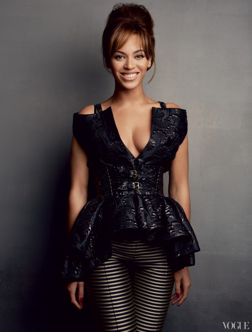 vogue:  Beyoncé in Haider Ackermann black-and-silver striped jacquard pants. Photographed by Patrick Demarchelier See the slideshow