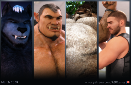 March has been a pleasant month in the company of characters with a fluffy, warm and comfortable fur :D   https://patreon.com/ADGames #3d#nsfw#orc#half orc#human#werewolf#tiger#muscles#furry#fur#ad games