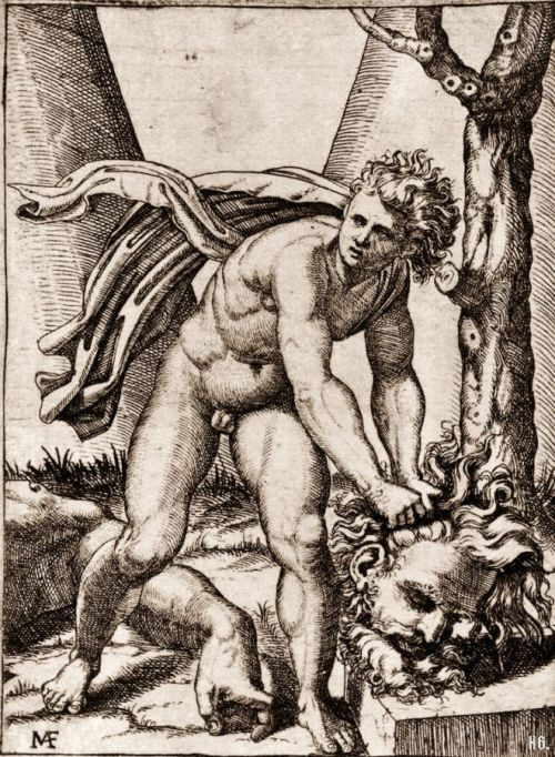 hadrian6:  David with the head of Goliath. 1515-16. Marcantonio Raimondi. Italian.1480-1534. engraving.    http://hadrian6.tumblr.com