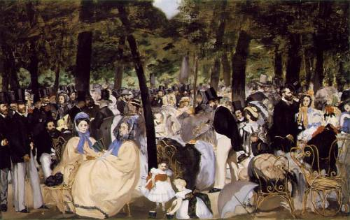 La Musique aux TuileriesÉdouard Manet1862In this painting Manet painted his friend Charles Baudelaire talking to Théophile Gautier. (left side of painting in front of large tree)  Manet and Baudelaire spent many hours together in the Jardin des Tuileries.