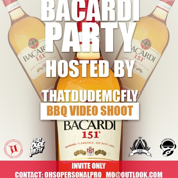 May 19 FABMG presents Bacardi Private BBQ Hosted by @Thatdudemcfly invite only by emailing Ohsopersonalpro_mo@outlook.com. E-mail now to guarantee your place!