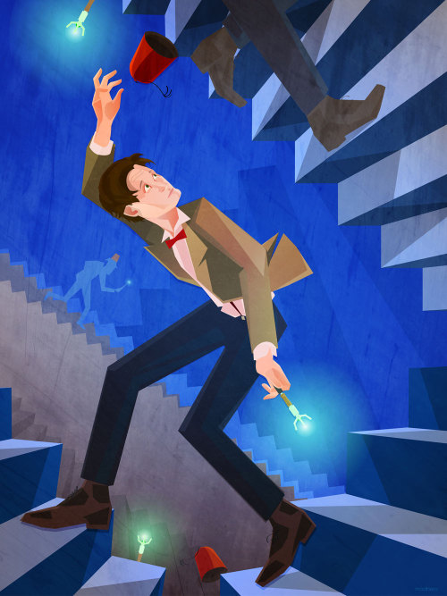 THE ELEVENTH DOCTOR Run!! Don't think about what's going on! Don't ask questions! Just keep running! The universe is a sphere, therefore all logic is circular and any questions you ask will just wind you up in the same place, running for your life from monsters, gasses, death rays, viruses, robots, and a sneaking sense that you've been here before but it's all a bit too intense and emotions are just a little too high to be dwelling on that at this particular moment in time, so before we get mired all the broken hearts and fragile plot elements supporting centuries of reckless, wonderful galavanting through the universe in an impossible time machine…. RUN!  Prints at Society6!
