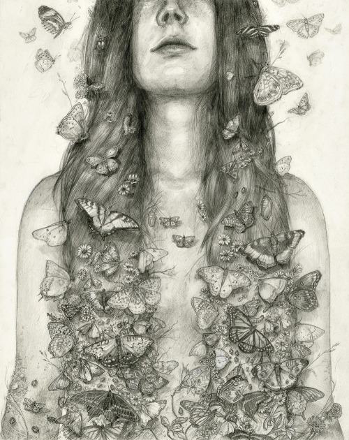 "tdylanart:  T. Dylan Moore ""Is it possible to become friends with a butterfly?""""It is if you first become a part of nature. You suppress your presence as a human being, stay very still, and convince yourself that you are a tree or grass or a flower"" - Haruki Murakami, 1Q84"