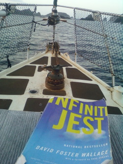 Infinite Jest on a yacht in the Cavalli Islands. This is an excellent submission. Perhaps it has an extra purpose as ballast?