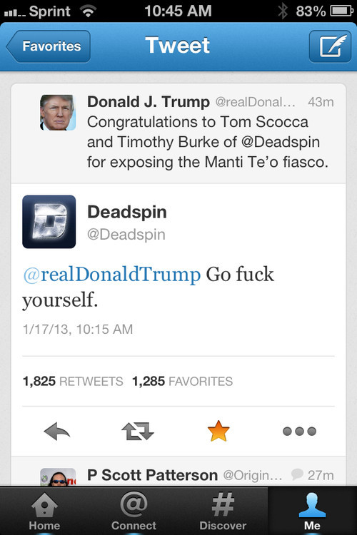 funnyordie:  This is How You Respond to a Compliment from Donald Trump Well played, Deadspin. Well played.  good job Deadspin!
