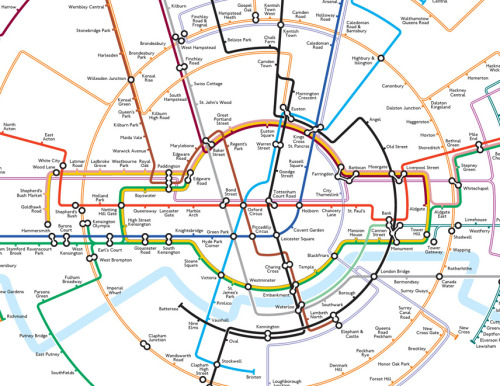 Brilliant, Easier-To-Understand Circular London Tube Map by Max Roberts  (via Anglophenia)