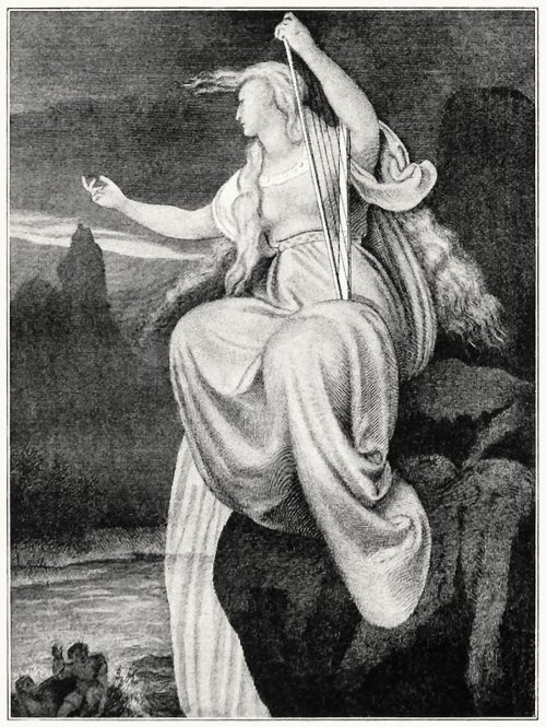 The Lorelei. Illustration for Reumont's Rhineland legends (1836).  A. Rethel, from Alfred Rethel; des Meisters Werke (Alfred Rethel, the master works), by Josef Ponten, Stuttgard & Leipzig, 1911.   (Source: archive.org)