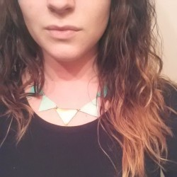 Triangle leather necklace coming soon! Available in any color. Http://shopbeatniq.com #etsy #jewelry #leather #trianglenecklace #necklace #ombre #trendy #trend #mint #gold #simple #beatniq #handmade #nashville #pretty #bohemian #boho