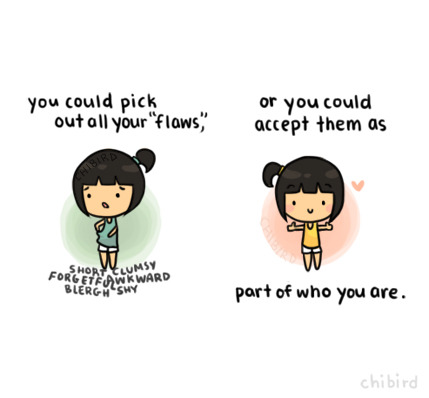 chibird:  Feeling good about yourself- a difficult, but worthy goal. ^^ Oh, haven't drawn something like this in a while.
