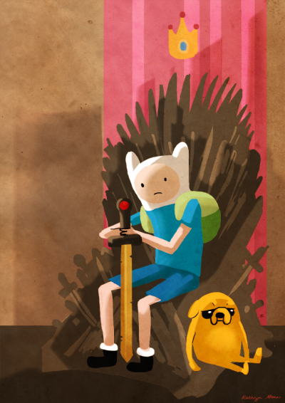 The Iron Throne is the seat of kings in the Land of Ooo.  Because apparently one crossover is not enough for me. Send help. I kind of wanted this to look like the title cards for the show. Also, I'm really excited for season 3, come at me Game of Thrones.