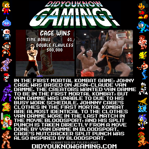 didyouknowgaming:  Mortal Kombat.  http://www.polygon.com/2012/10/2/3444618/mortal-kombats-johnny-cage-20-years-later