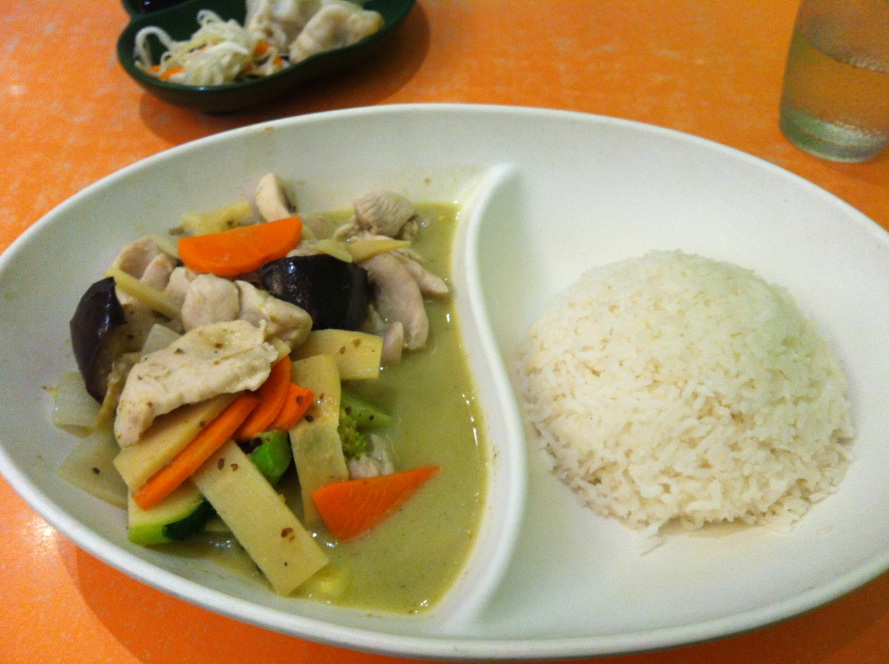 Melbourne cheap eats: Green thai chicken curry with rice. A considerably large portion and tasted fantastic.