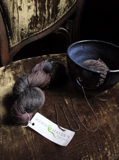 rusticmeetsvintage:  yarn stash: Handmaiden SeaSilk in midnight by chronographia, via Flickr