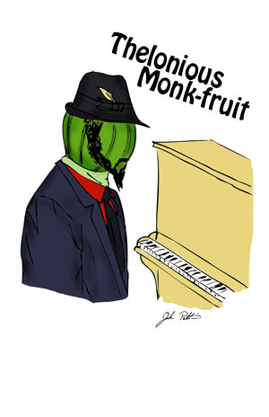 Visit Thelonious Monk-fruit  and his Veggie friends at http://society6.com/Pattavina