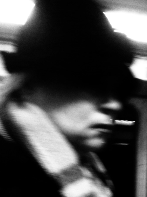 Woman in hat  Red Line subway, Los Angeles.