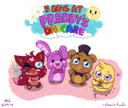 cslucaris:  Welcome to Freddy's Enterprises' School for Gifted Children's Daycare Center (that's a long name). You've just been hired to have the honor of caring for the needs/education of the children of some of society's biggest names. Due to your exemplary qualifications, however, you have been assigned to be the caretaker of four special, but very mischievous children. Freddy (the 2nd): The son and heir to Freddy's Enterprises. Growing up knowing that he can get anything he wants, he is very spoiled. He is the leader of the small group and is the one who comes up with plans to make your day terrible, using the other children to help him or distract you. Make sure to keep watch on him or else he'll have a prank ready for you faster than you can blink! His parents are exasperated with his spoiled behavior and wish for you to get him out of it. Teach him right from wrong and discipline him if necessary. Be careful not to go overboard, though, or you'll be facing some meaner pranks the next day! Chica: The daughter of a famous food critic and a Michelin Star chef. She loves new people, but more than that she loves, loves, loves to eat! You will almost never see her without some food in her hands. Unfortunately all that food is making her pudgy-pudgy and worries her parents greatly. They want you to lessen the amount she eats and give her a bit of exercise. However, she gets very upset if you take away her food and she hates exercise. Can you figure out a way to keep her happy and fulfill her parents' request? Bonnie: The daughter of two world famous musicians. She's the best behaved of the bunch and loves to help people. She's the first one to ask if you need help passing out snacks or getting blankies and pillows ready for nap time. But her helpful nature unfortunately makes others see her as a doormat and also means she's easily roped into helping out Freddy with his shenanigans. Her parents want you to help her become a bit more assertive and to keep her out of trouble and getting hurt. She's very helpful but she's also very clumsy. Be sure to catch her when she trips! Foxy: The son a cruise liner captain and an Olympic athlete. He's apparently descended from pirates and takes pride in that fact. He's also one of the most hyperactive children you'll ever have the (dis)pleasure of caretaking, so be prepared. He runs around screaming at the top of his lungs, darting from room to room at a speed that you can barely follow. His parents see no problem with his rambunctious behavior; all they request is that you keep him from getting hurt. He tends to jump off of high places and run around outside, so try to keep an eye on him and have a band-aid on hand! Also, he bites, but he only bites the things he likes. If he bites you, that's a good sign! Make sure to keep the kids happy! If they're happy, then they'll have good things to say about you! You may even get a raise! Isn't that nice? On the flipside, if the children are upset at the end of the day, you may have to kiss your job goodbye! Oh no! Can you last the week with these mischievous little tykes? ===== I was drawing Presea but after quickly belting out a warmup sketch for this, I knew I had to see it through. The idea wouldn't leave me alone otherwise.  THE CUTENESS /)///^///(\
