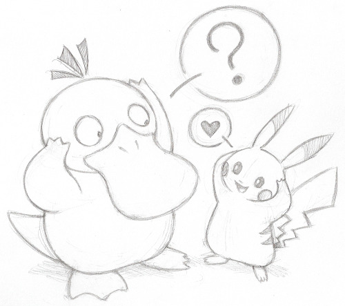 Psyduck and Pikachu <3by pandaagogo
