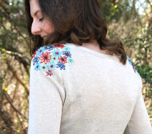 DIY Shoulder Embroidery (from One Sheepish Girl)