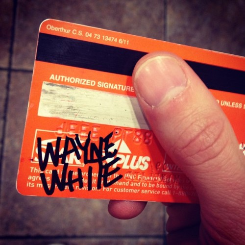 I had Wayne White #autograph my credit card cuz I'm weirder than him. #waynewhite #beautyisembarrassing