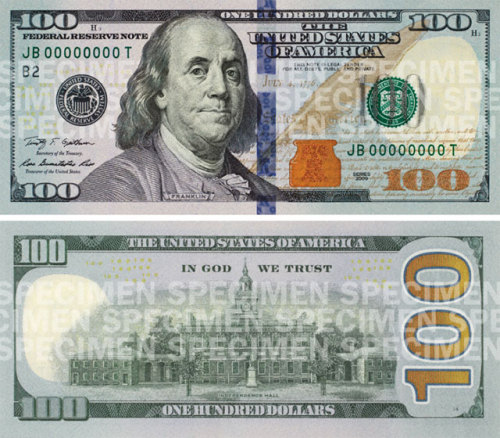 The new United States $100 bill design. Why is it so fugly? Isn't there anyone who cares about design on this project? Perhaps they're trying to phase out cash by making it so ugly no one can stand to use it anymore.