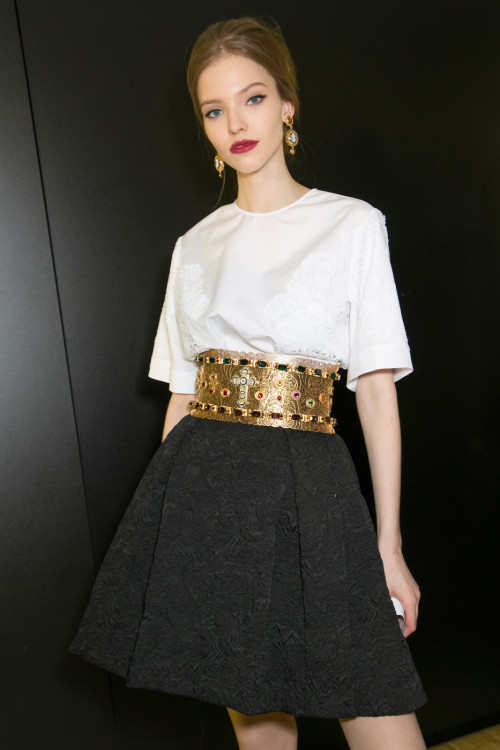 fashioninquality:  Sasha Luss backstage at Dolce and Gabbana Fall Winter 2013 | MFW