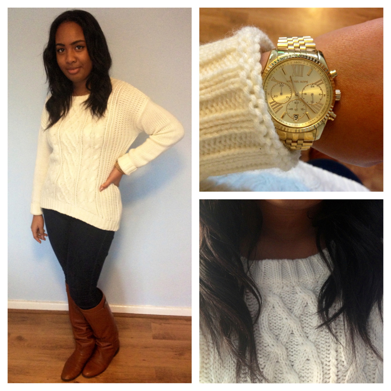 #OOTD Oh how I love a good ol' cable knit! the perfect thing to wear for a chilly day in London. I wore mine with a pair of jeans, riding boots, nicely topped off with a gold watch - Casual outfit, with timeless features. Jumper - Primark, jeans - New Look, riding boots - ZARA, watch by Michael Kors