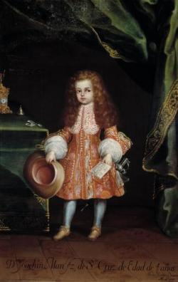 """Portrait of Don Joaquín Manuel Fernández de Santa at 4 years old"" by Nicolás Rodríguez Juárez, 18th century. This newspanish boy had his portrait made by one of the last generations of great painters in the colonial times. The style is clearly of a official portrait even though the subject is a child, but it also makes clear that the boy is part of an important family: the purse on his hand links him to the Bishop of Puebla and the sword indicates a future military career."