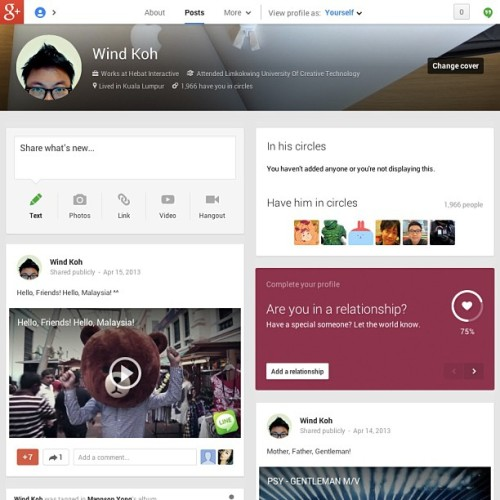 Love the new Google+ that look like the old Facebook. ^^ (at Pavilion Kuala Lumpur)