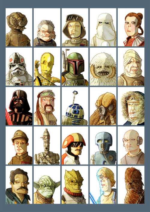 deanbeattie:  I posted my '25 Star Wars characters' a while back — and have now finished my '25 Empire Strikes Back characters'. So….here it is.