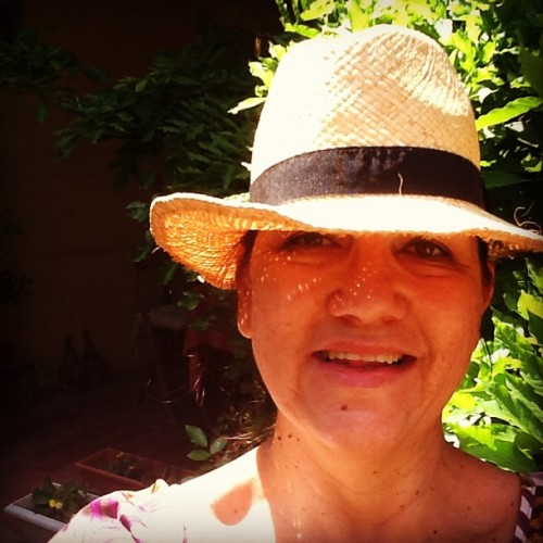wearing a hat for the first time this year working the #garden #summer
