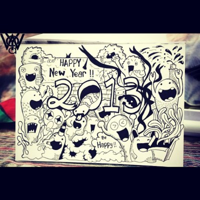 Doodle: Happy new year :D #newyear #doodle #doodleart #webstagram #draw #sketch #illustration #character #sketching #happy