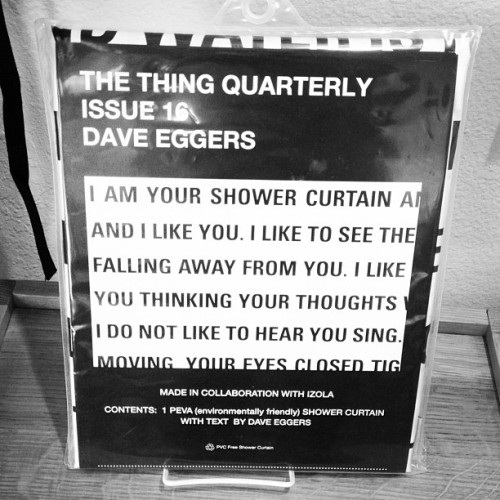 Limited edition Dave Eggers shower curtain. Shower reading made easy.