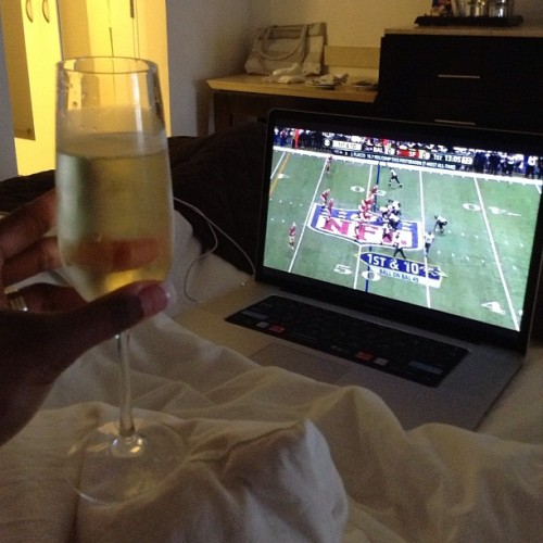 Super Bowl and bubbles with Babe. @djjazzyjeff