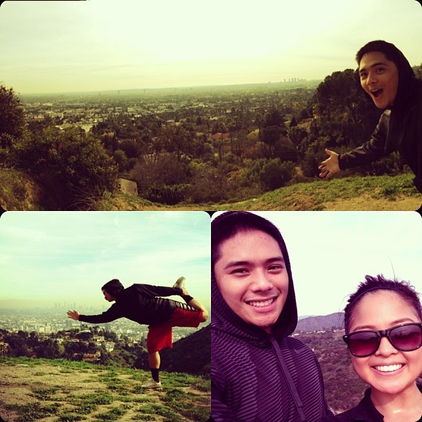 Perfect weather for a beautiful hike with my partnahh in crime, @chrisespi! Check out that #DancerPose though! 🙏😏 (at Runyon Canyon Park)