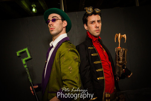 brassgoblin:  Steampunk Robin & the Riddler (photo by Pete Labrozzi)  My husband as Steampunk inspired Robin :)