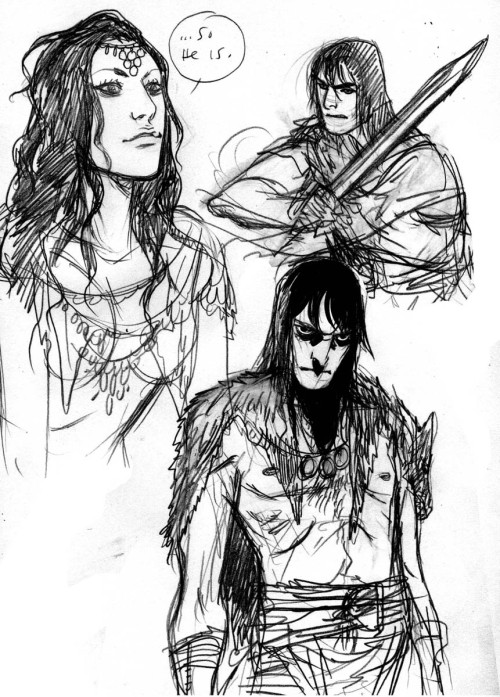 swordandsorcerytales:  Conan and Belit sketch by Becky Cloonan.